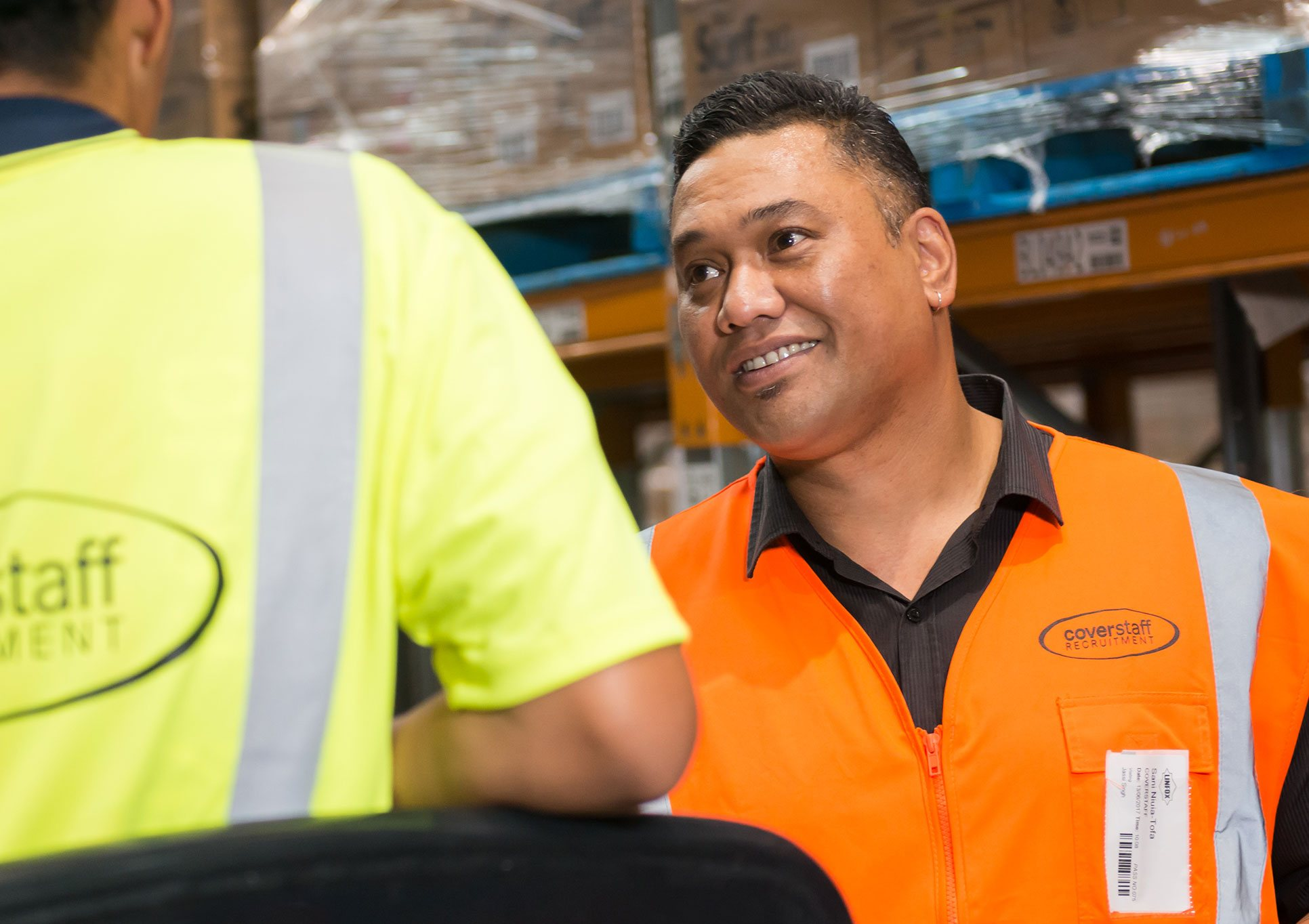 To casual employees working for Auckland Recruitment Agency Coverstaff working in a warehouse.